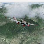 P38 over the Mountains with Clouds 1