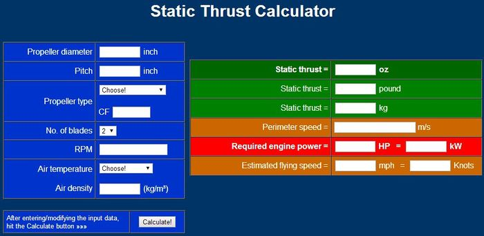 What happened to Static Thrust Calculator? Attachment